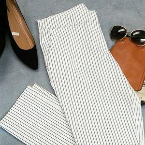 H&M Fitted Black Pinstripe Crop Pants